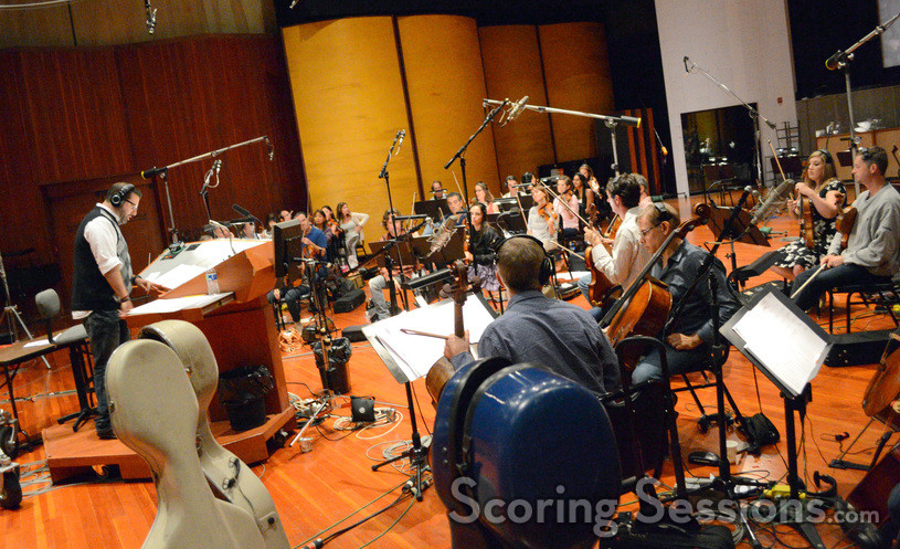 Composer Christopher Lennertz prepare to record a cue from <i>Horrible Bosses 2</i>