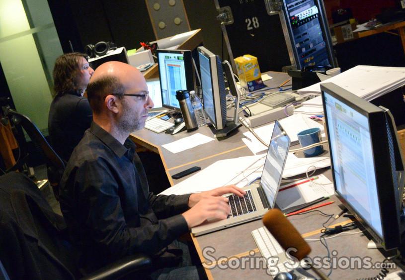 Digital recordist Adam Olmstead (rear) and music editor Ted Caplan