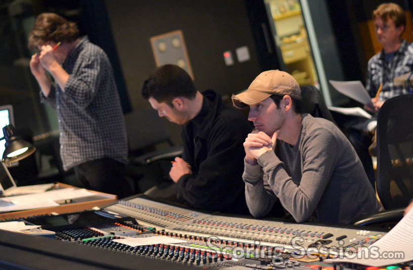 Director Wes Ball listens at the mixing board