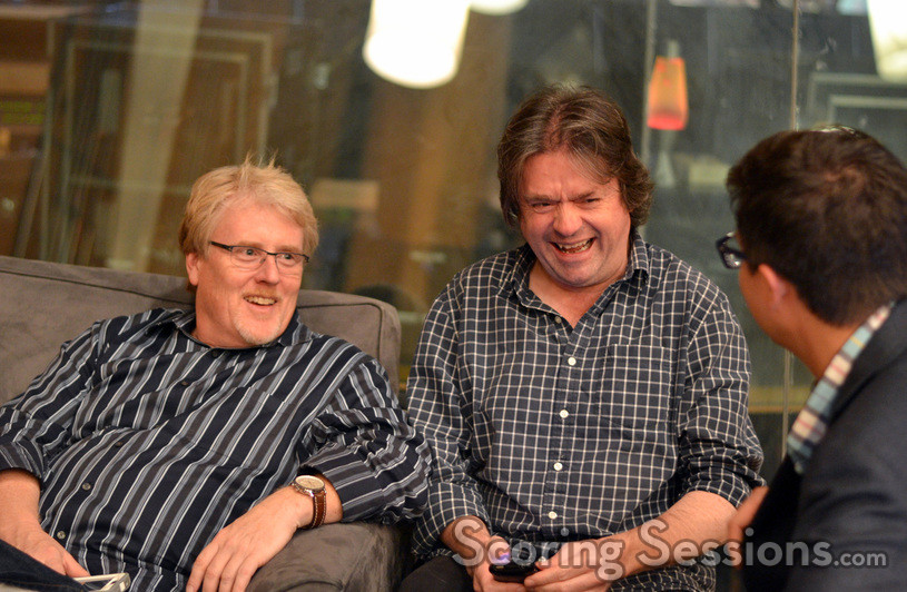 Conductor Pete Anthony and orchestrator John Ashton Thomas enjoy some down time