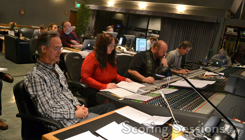 Orchestrator Larry Rench, orchestrator Penka Kouneva, composer Nathan Furst, scoring mixer Mark Curry, and stage recordist Adam Michalak