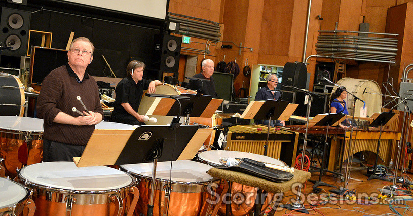 The percussion section: Don Williams, Brian Kilgore, Danny Greco, Steve Schaeffer, and Germaine Franco