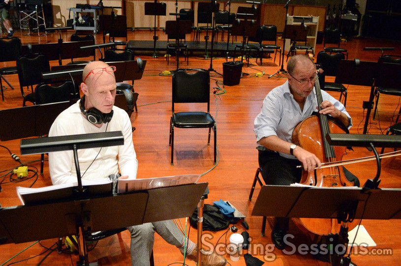 Composer Tom Holkenborg directs Steve Erdody through the intimate cello solos