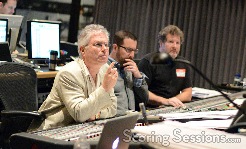 Composers Alan Menken and Christopher Lennertz with scoring mixer Frank Wolf