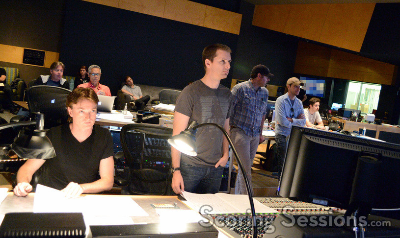 The booth listens as composer John Paesano's score to <i>Maze Runner: The Scorch Trials</i> is recorded