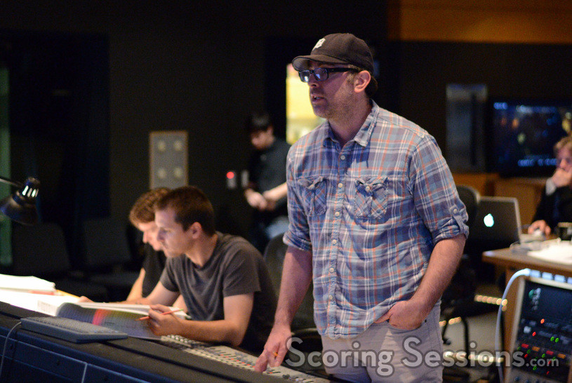 Composer John Paesano at the mixing console