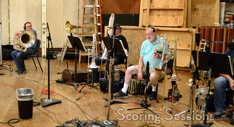The trombones and tuba