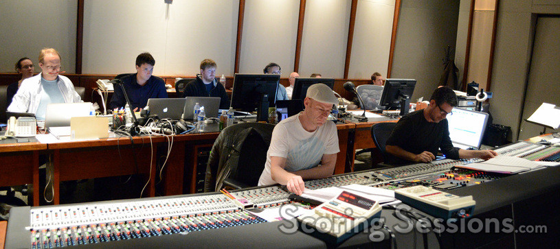 Inside the booth at Warner Bros.: orchestrators Edward Trybek and Henri Wilkinson, additional music composer Stephen Perone, ProTools recordist Vinny Cirilli (obscured), composer Tom Holkenborg, and scoring mixer Tom Hardisty