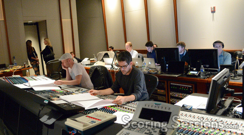 Composer Tom Holkenborg, scoring mixer Tom Hardisty, (rear) orchestrators Edward Trybek and Henri Wilkinson, additional music composer Stephen Perone, ProTools recordist Vinny Cirilli