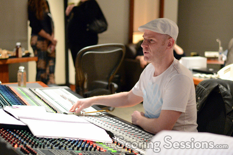 Composer Tom Holkenborg (Junkie XL) gives feedback from the booth