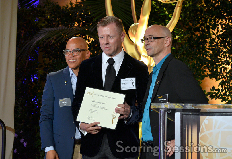 Nominee Abel Korzeniowski (<em>Penny Dreadful</em>) with Rickey Minor and Michael A. Levine
