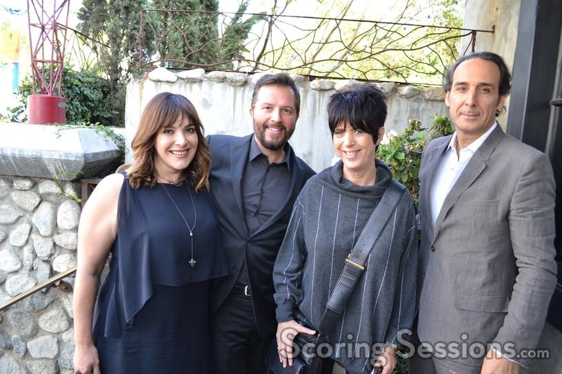 Song nominees Danielle Brisebois, Shawn Patterson, Diane Warren with score nominee Alexandre Desplat