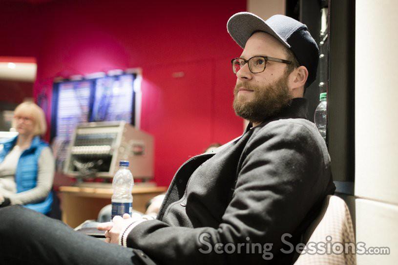 <em>Sausage Party</em> producer/writer Seth Rogen at the scoring session at Abbey Road