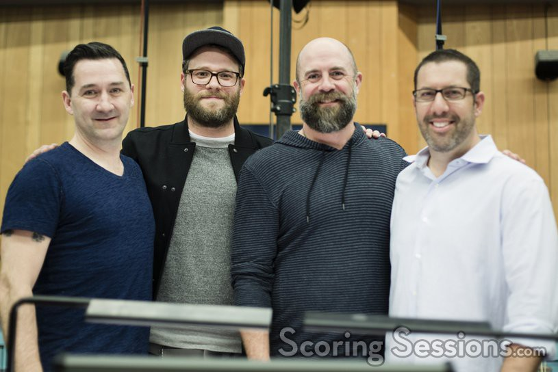 Co-director Greg Tiernan, producer/writer Seth Rogen, co-director Conrad Vernon and composer Christopher Lennertz
