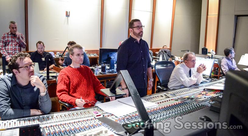 Orchestrators Michael Lloyd and Andrew Kinney, composer Christopher Lennertz, scoring mixer Jeff Vaughn, and music scoring recordist Tom Hardisty