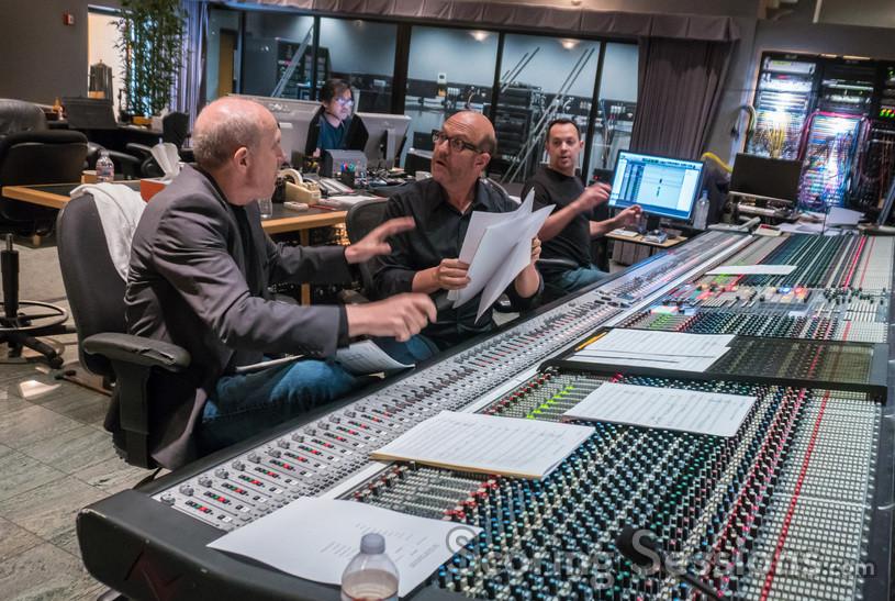 Conductor William Ross, composer Randy Kerber and scoring mixer Adam Michalak discuss a cue