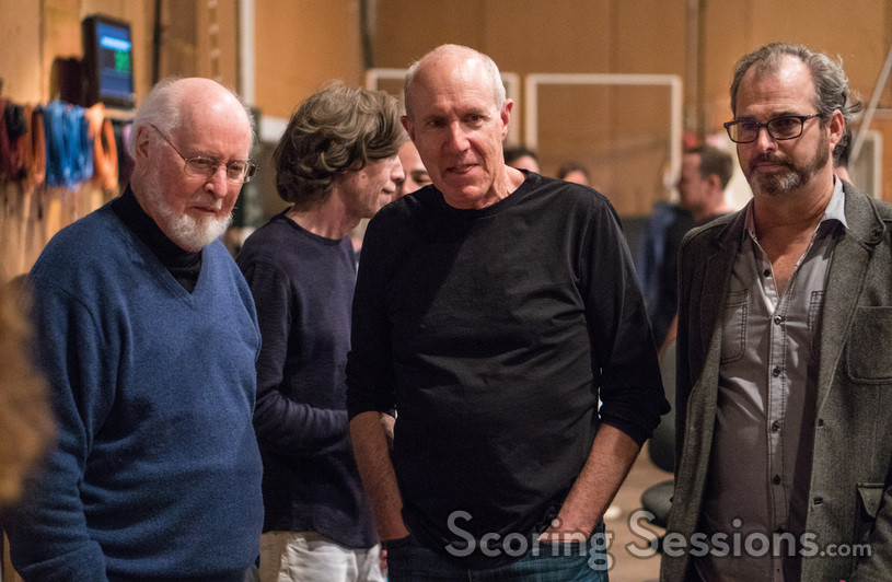 Visiting guest John Williams with conductor William Ross and music librarian Joe Zimmerman