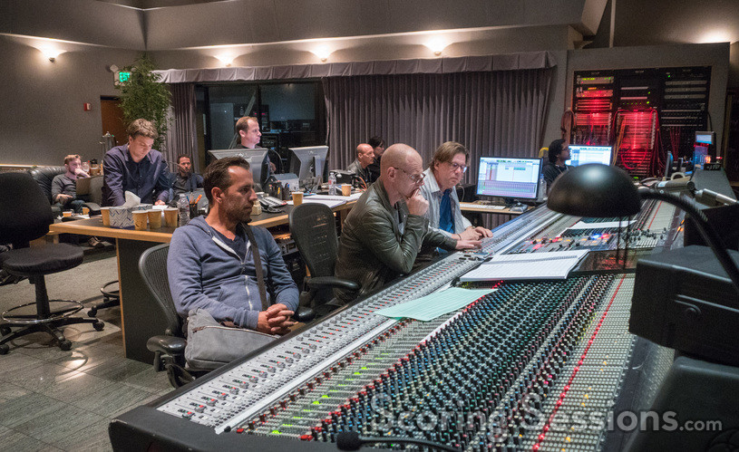 Orchestrator Henri Wilkinson (back row), director Nikolaj Arcel, ProTools recordist Kevin Globerman (back row), composer Tom Holkenborg, scoring mixer Alan Meyerson, and stage recordist Keith Ukrisna