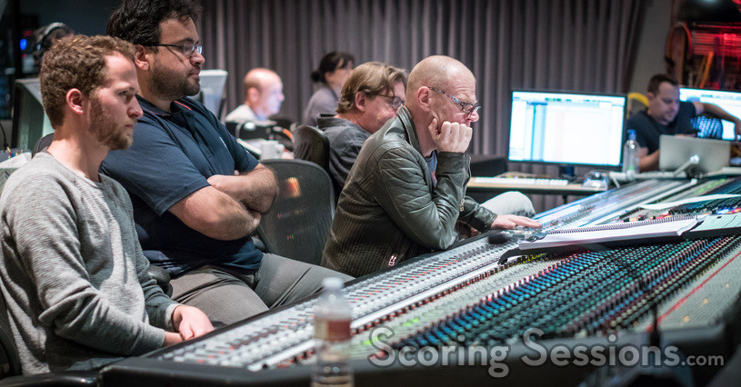 Additional music composers Aljoscha Christenhuß and Antonio Di Iorio, composer Tom Holkenborg, and scoring mixer Alan Meyerson (partially obscured)