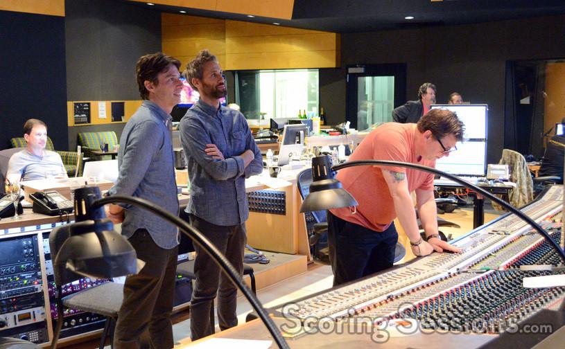 Supervising music editor Andrew Silver, director Zach Braff, composer Rob Simonsen, and scoring mixer Alan Meyerson
