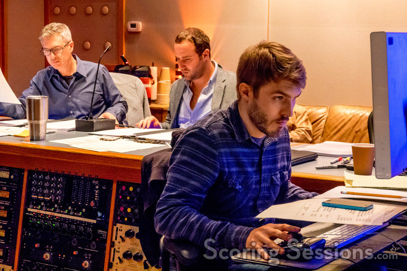 Score Producer Peter Scaturro, Composer Anthony Willis and Assistant Engineer Jasper Lemaster