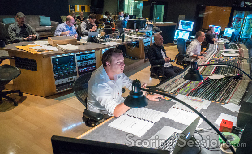 Inside the booth at 20th Century Fox on <em>The Mountain Between Us</em> scoring session