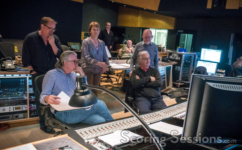 Music editor Stan Jones, music librarian Mark Graham (seated, left), concertmaster Belinda Broughton, music librarian Joe Zimmerman, ProTools recordist Steve Hallmark, composer Bruce Broughton (seated, right), and scoring mixer Armin Steiner