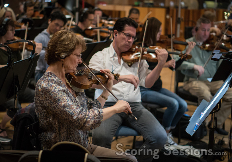 Violinists Belinda Broughton and Darius Campo perform on the score for <i>The Orville</i>