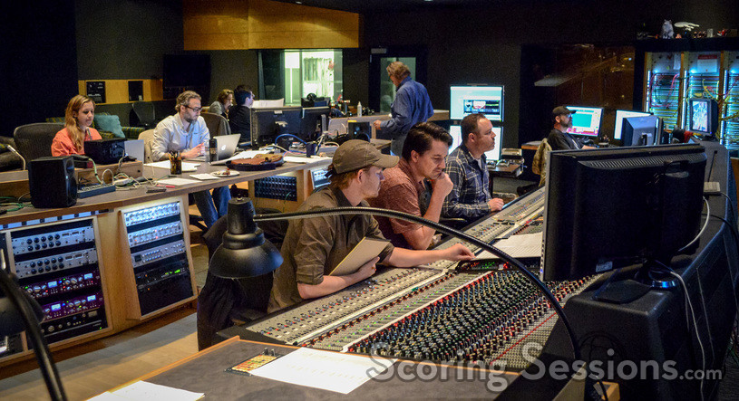 Assistant music editor Allegra de Souza, music editor Jim Schultz, orchestrator Robert Litton, co-composer Chris Bacon, and scoring mixer Casey Stone