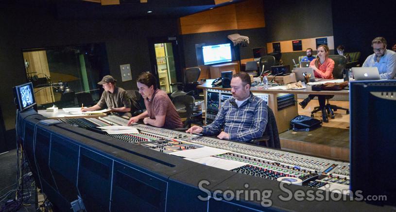 Orchestrator Robert Litton, co-composer Chris Bacon, scoring mixer Casey Stone, assistant music editor Allegra de Souza, and music editor Jim Schultz