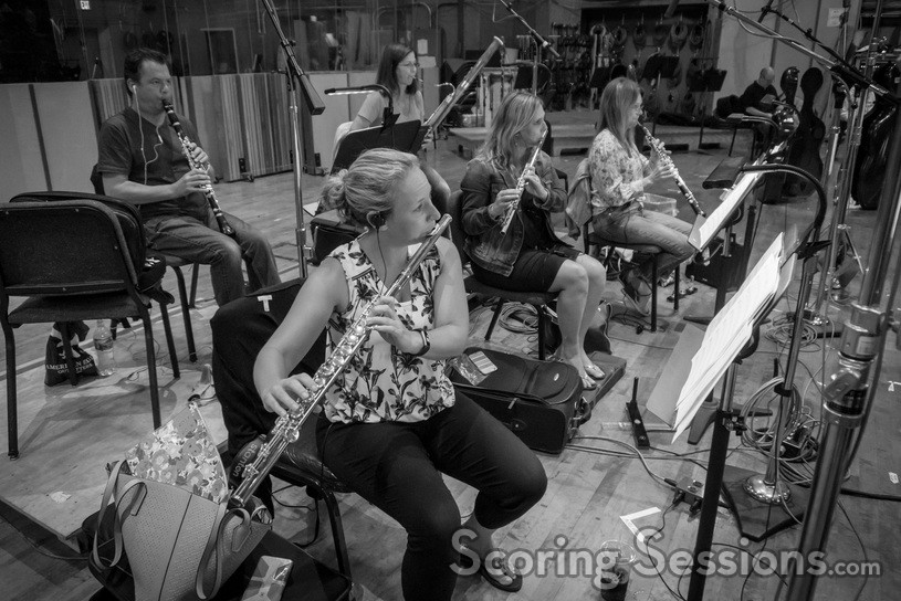 The woodwinds record a cue for <i>Fifty Shades Freed</i>