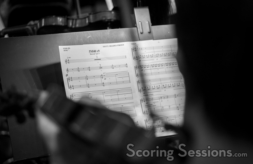 A glimpse of a violin part for a cue from <i>Fifty Shades Freed</i>