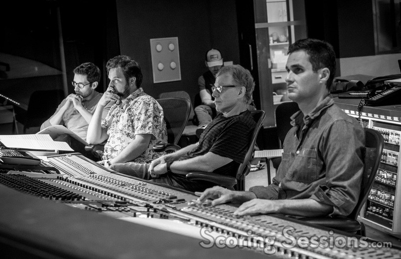 Orchestrator Philip Klein, additional music composer David Buckley, composer Danny Elfman, and scoring mixer Noah Snyder listen during the <i>Fifty Shades Freed</i> sessions