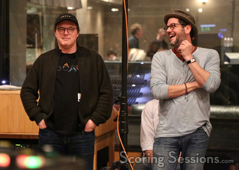 Director Brad Bird and composer Michael Giacchino at the scoring session for <em>Incredibles 2</em>