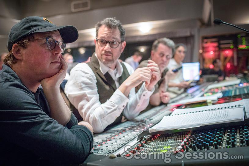 Director/writer Brad Bird contemplates as cue as composer Michael Giacchino, arranger/orchestrator/conductor Gordon Goodwin and scoring mixer Joel Iwataki eagerly await his feedback