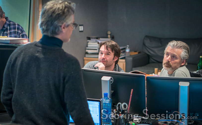 Composer Marco Beltrami talks with additional music composer Brandon Roberts and score producer Buck Sanders
