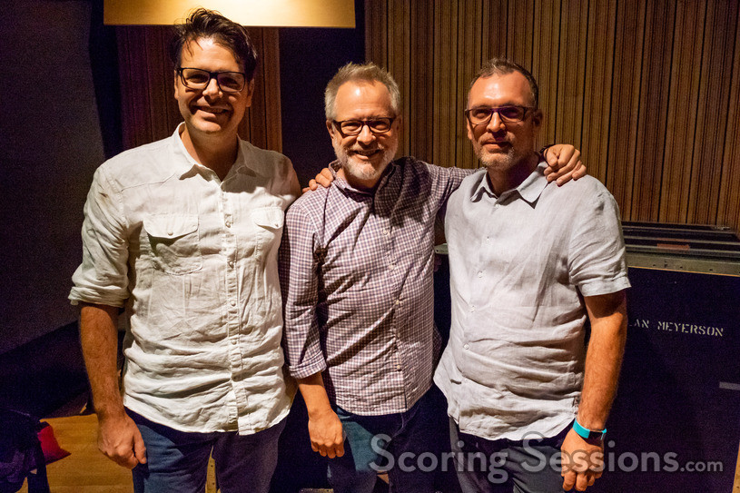 Directors Rich Moore and Phil Johnston pose with composer Henry Jackman