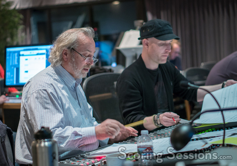 Orchestrator Nicholas Dodd and composer Andrew Lockington go over a cue