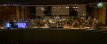 A view of the musicians from the control room