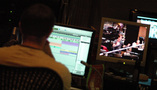Stage recordist Adam Michalak runs the ProTools rig as Roger Neill conducts