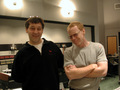 Director Sam Raimi and composer Danny Elfman at the scoring session to <i>Spider-Man</i>, on February 14th, 2002