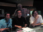 Actor Luke Wilson, director Thomas Bezucha, conductor Tim Simonec and composer Michael Giacchino listen to a cue