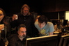 ProTools Recordist Robert Wolff, Music Editor Paul Rabjohns and Composer Stephen Trask check a cue