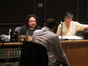 Composer Christophe Beck consults with scoring mixer Casey Stone and orchestrator Kevin Kliesch