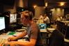 Stage Recordist Adam Michalak prepares a cue for recording