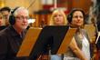 Concertmaster Endre Granat and fellow violinist Julie Gigante