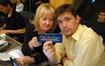 Contractors Sandra Kipp and Jasper Randall showcase the 20th Anniversary ASCAP chocolate bars