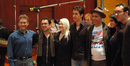 Group photograph after the recording session of <i>David and Fatima</i>.  L to R are Karim Elmahmoudi (additional music, co-orchestrator), Alain Zaloum (director), Tammi Sutton (producer), Cameron Van Hoy (actor), Kari Bian (producer), Tavia Dautartas (associate producer), and Michael J. Lloyd (composer, conductor)