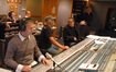 Music editor Paul Apelgren and music librarian Marshall Bowen (rear), stage recordist Aaron Walk, scoring mixer Dan Wallin, composer Chris Tilton and orchestra contractor Reggie Wilson