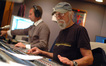 Stage recordist Aaron Walk and scoring mixer Dan Wallin work on a cue